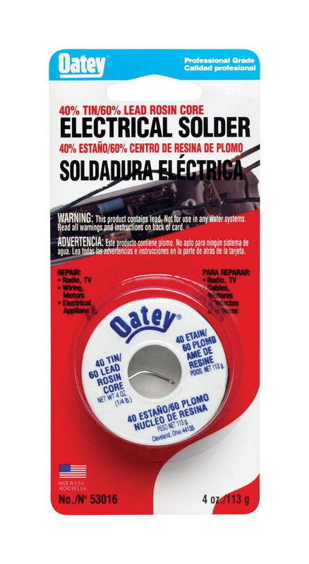 Oatey  4 oz. Rosin Core Solder Wire  0.063 in. Dia. x 1/4 lb.  Tin/Lead  40/60
