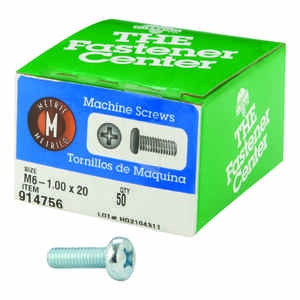 Hillman  M6-1 mm  x 20 in. L Phillips  Pan Head Zinc-Plated  Steel  Metric Machine Screws  50 pk
