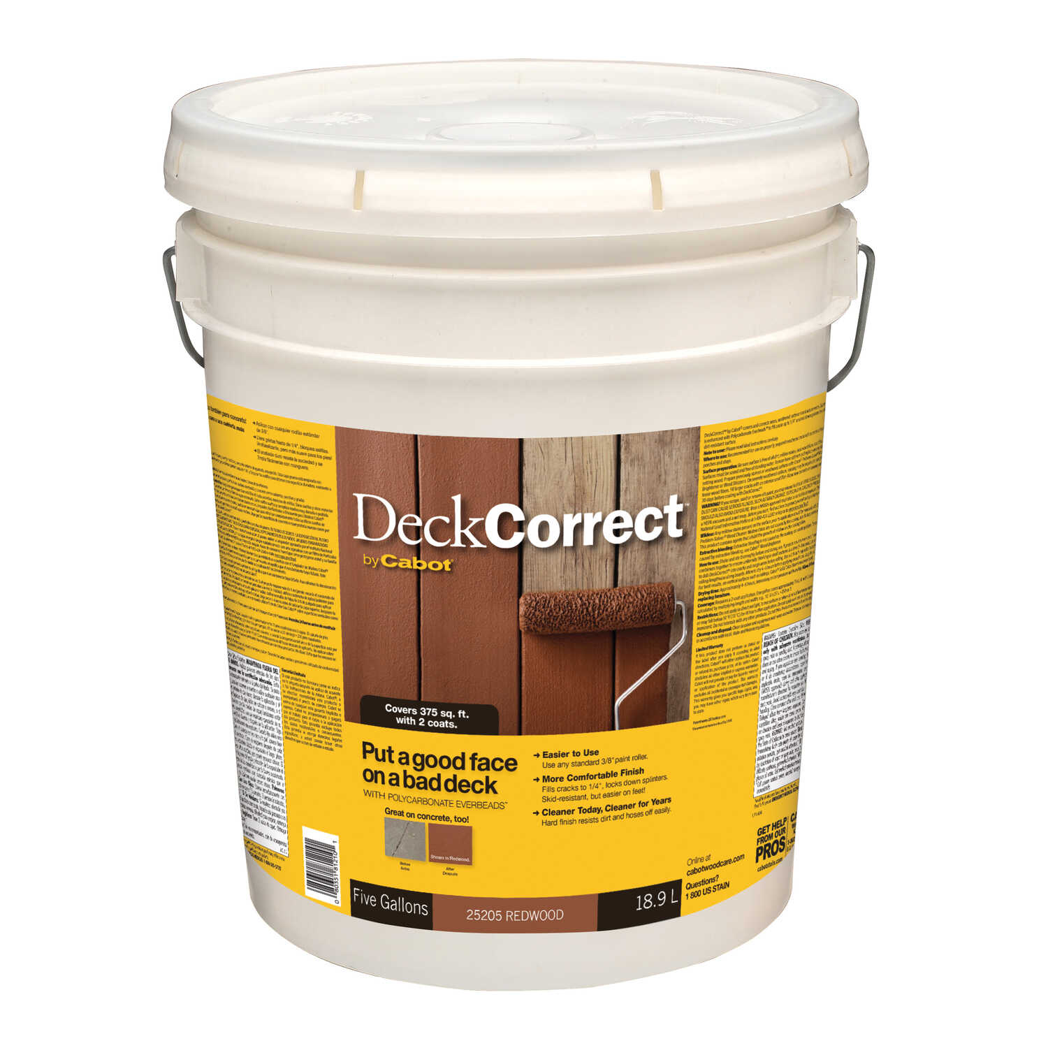 Cabot  Deck Correct  Solid  Redwood  Water-Based  Latex  Deck Stain  5 gal.