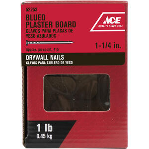 Ace  1-1/4 in. L Drywall  Blue  Steel  Nail  Smooth Shank  Round  1 lb.
