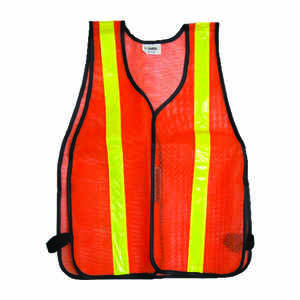 CH Hanson  Reflective Polyester Mesh  Safety Vest with Reflective Stripe  Orange  One Size Fits All