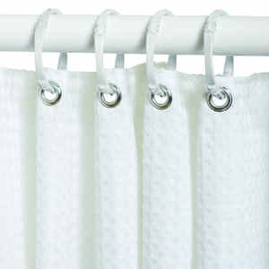 Zenna Home  72 in. H x 70 in. W White  Waffle  Shower Curtain