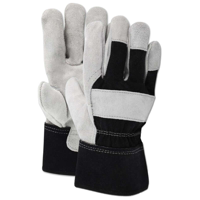 Ace  Men's  Indoor/Outdoor  Cotton/Leather  Work Gloves  Black/Gray  M  1 pair
