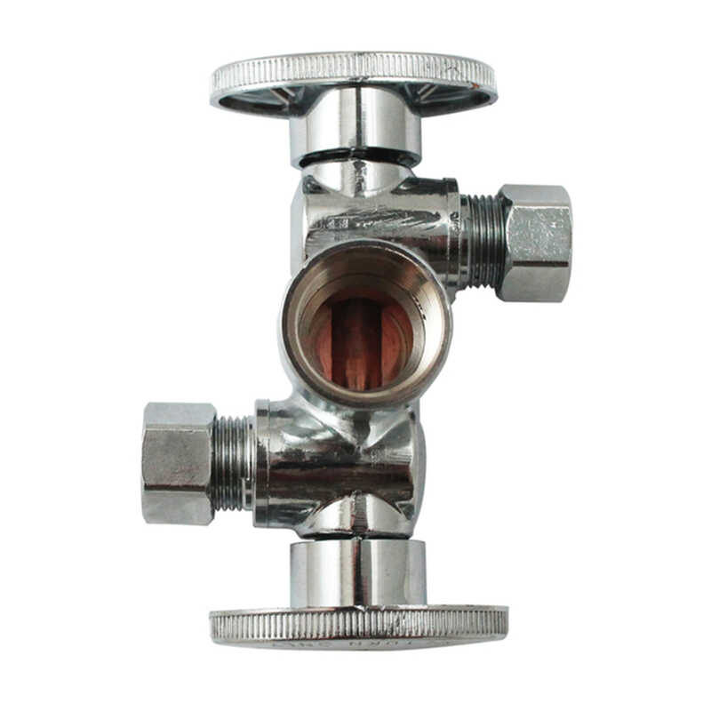 Keeney  3/8 in. Dia. x 1/2 in. Dia. Ball  Dual Shut-Off Valve  Brass