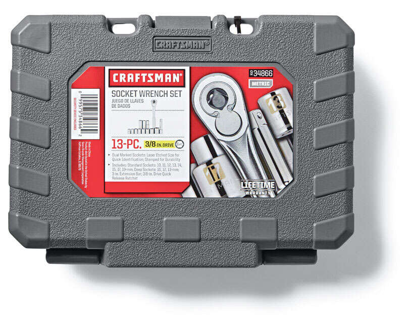 Craftsman  Assorted mm  x 3/8 in. drive  Metric  6 Point Socket Wrench Set  13 pc.