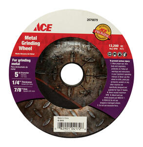 Ace  5 in. Dia. x 1/4 in. thick  x 7/8 in.   Metal Grinding Wheel  1 pc.