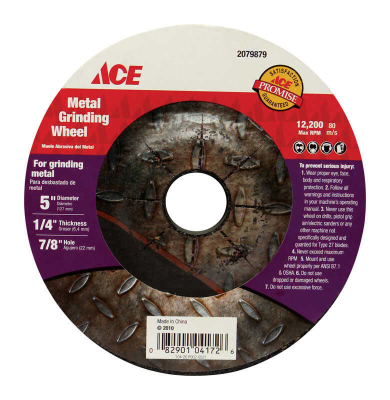 Ace  5 in. Dia. x 1/4 in. thick  x 7/8 in.   Aluminum Oxide  Metal Grinding Wheel  12200 rpm 1 pc.
