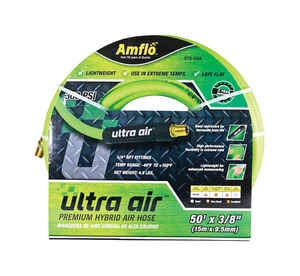 Amflo  Ultra Air  50 ft. L x 3/8 in. Dia. Rubber/PVC  Hybrid Air Hose  300 psi Yellow