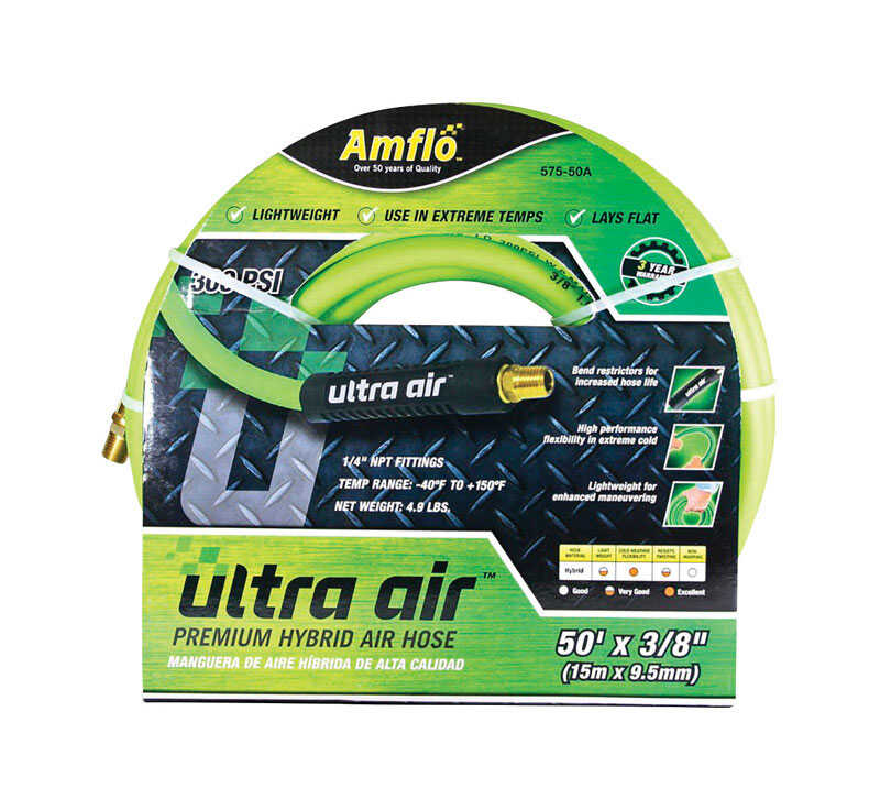 Amflo  Ultra Air  50 ft. L x 1/4 in.  Hybrid Air Hose  Rubber/PVC  300 psi Green