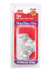 Smith-Cooper  1/8 in. FPT  Tee  Stainless Steel