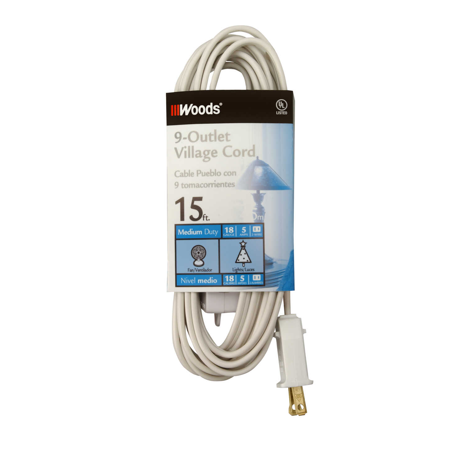 Woods  Indoor  15 ft. L White  Extension Cord with Switch  18/2