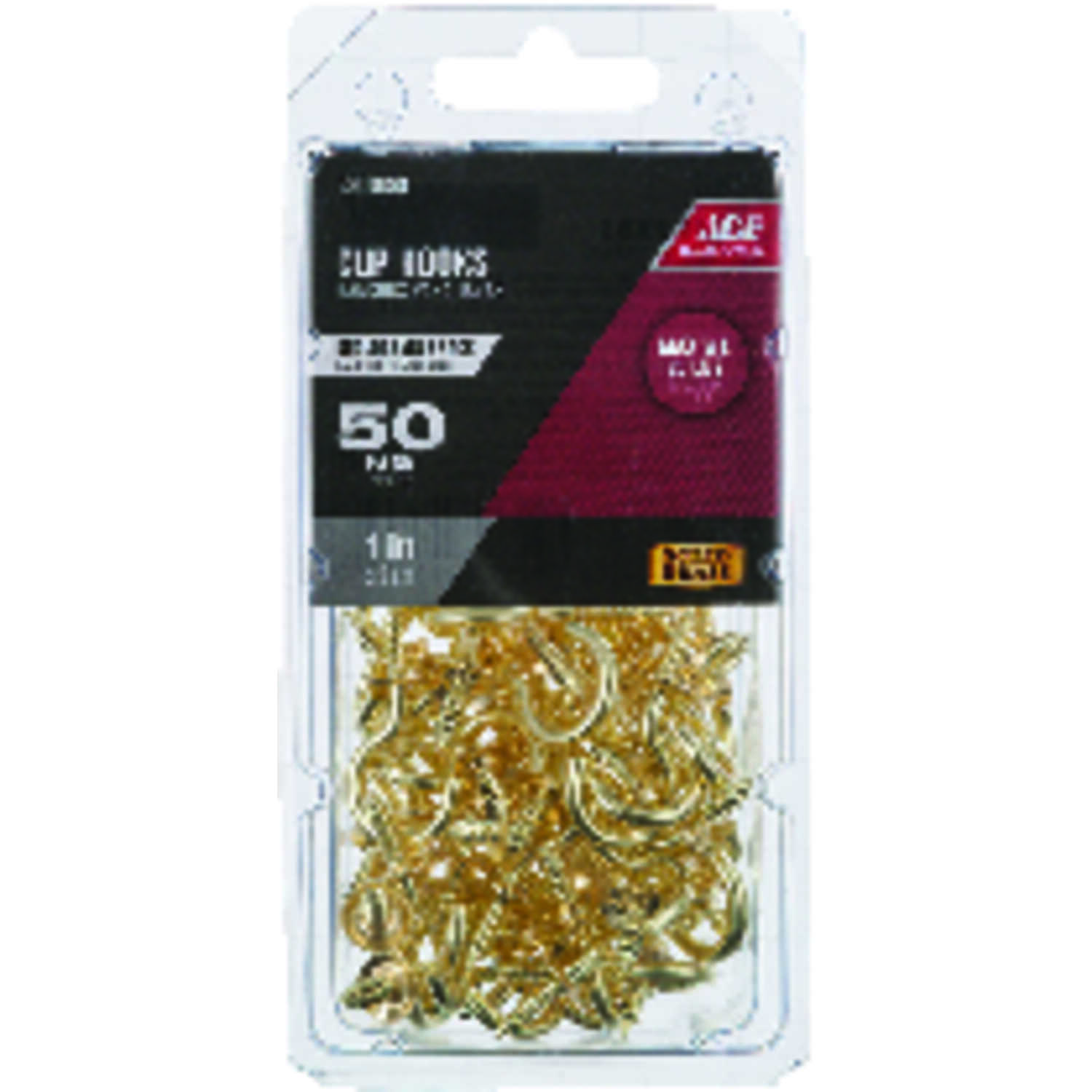 Ace  Small  Bright Brass  Brass  1 in. L Cup Hook  25 lb. 50 pk