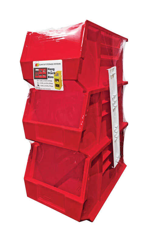 Quantum Storage  7 in. L x 8-1/4 in. W x 13-3/4 in. H Stack and Hang Bin  Polypropylene  3 pk Red
