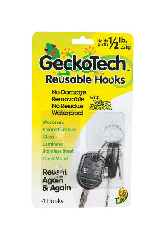 GeckoTech  6.75 in. L Clear  Plastic  Reusable  Clothes Hook  1/2 lb. per Hook  4 pk