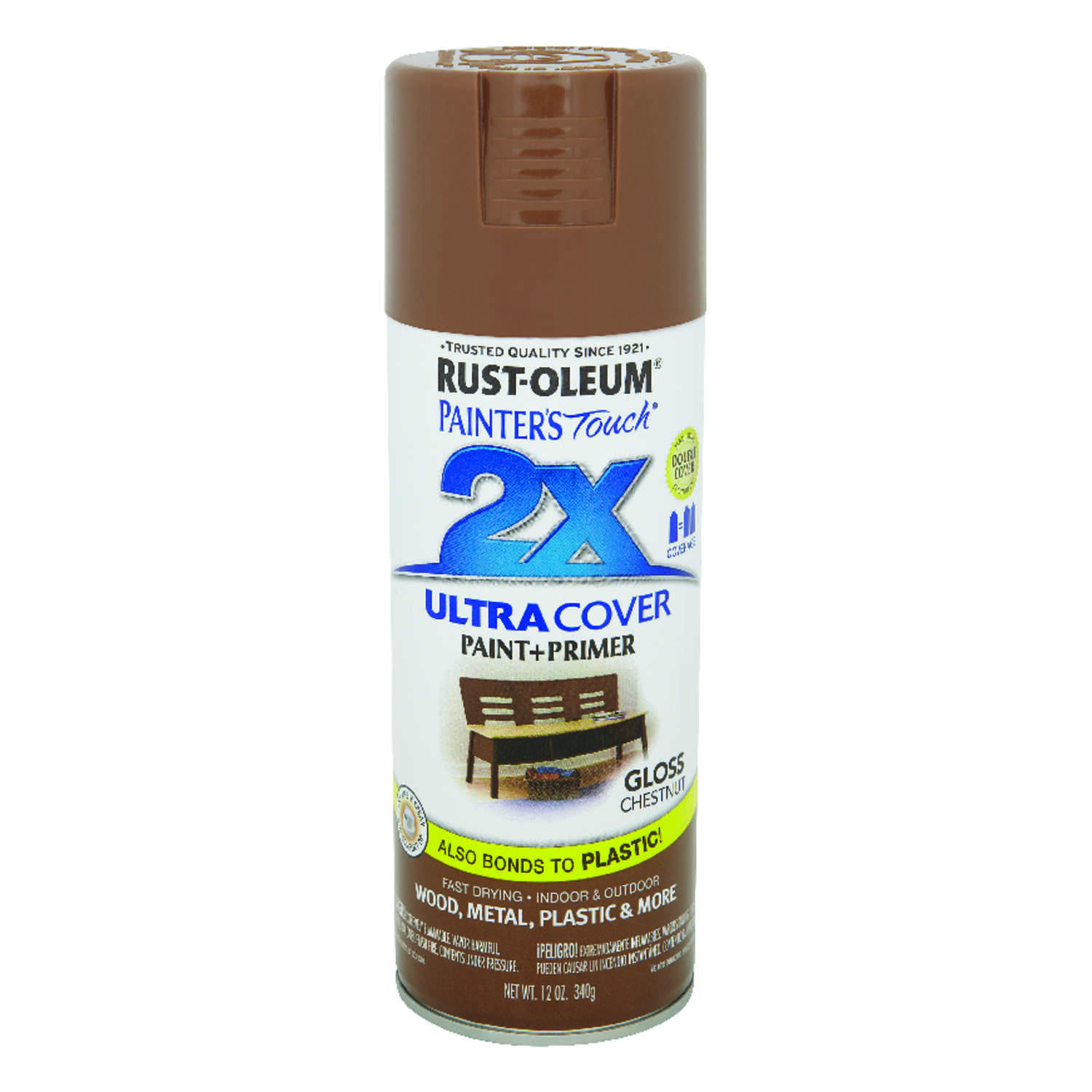 Rust-Oleum  Painter's Touch Ultra Cover  Gloss  Chestnut  Spray Paint  12 oz.
