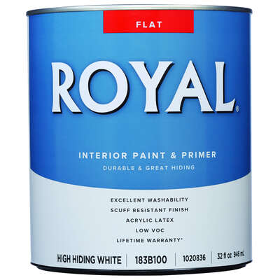 Royal  Flat  High Hiding White  Acrylic Latex  Paint  Interior  1 qt.
