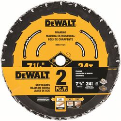 DeWalt  7-1/4 in. Dia. x 5/8 in.  Tungsten Carbide Tipped  Circular Saw Blade Set  24 teeth 2 pk