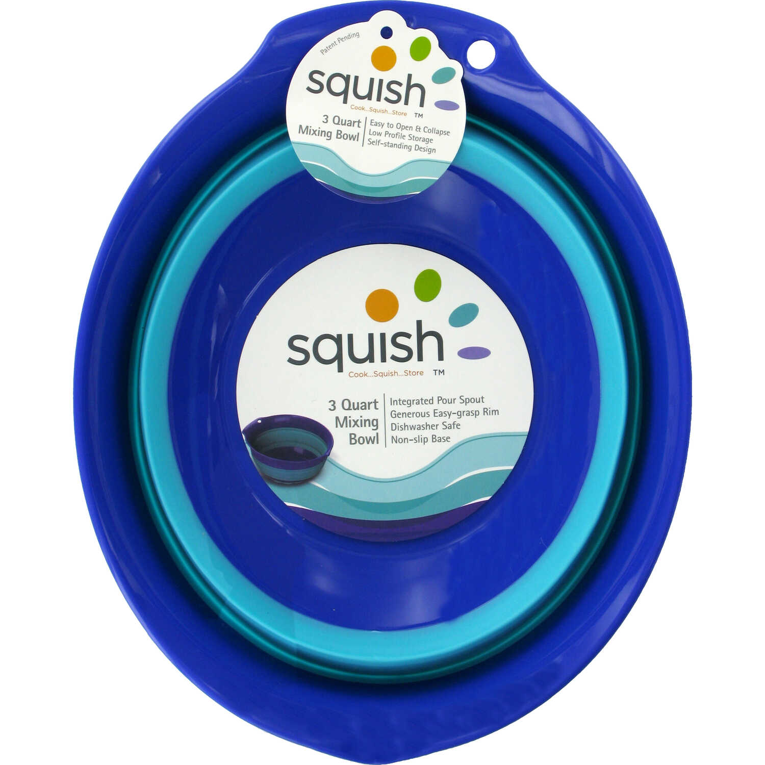 Squish  3 qt. Polypropylene  Blue  Collapsible Mixing Bowl  1 each