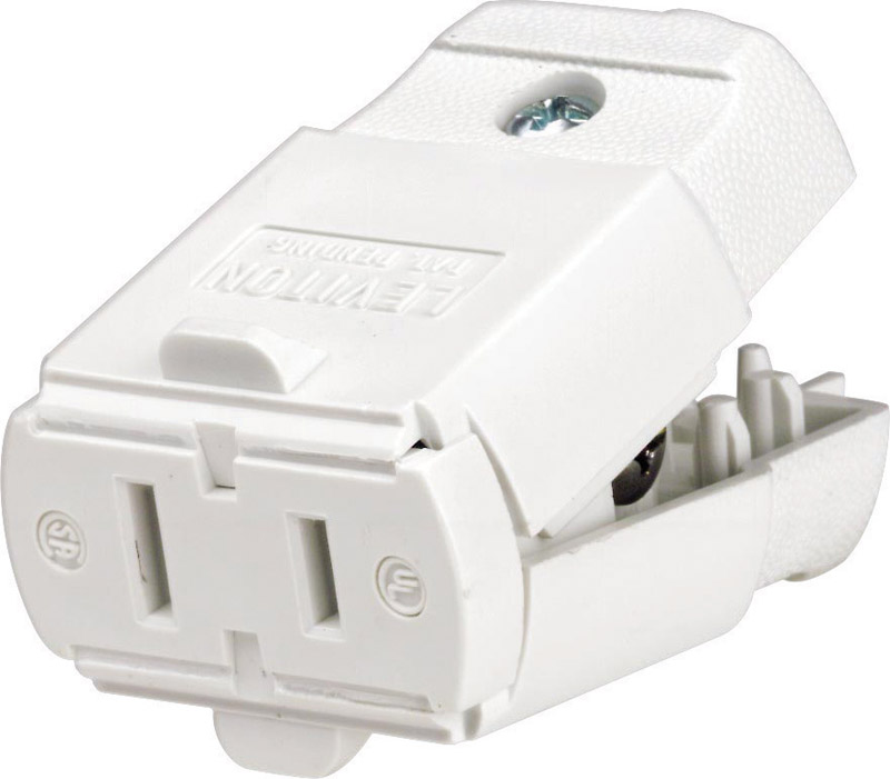 Leviton  Commercial and Residential  Thermoplastic  Polarized  Connector  1-15R  20-16 AWG 2 Pole 2