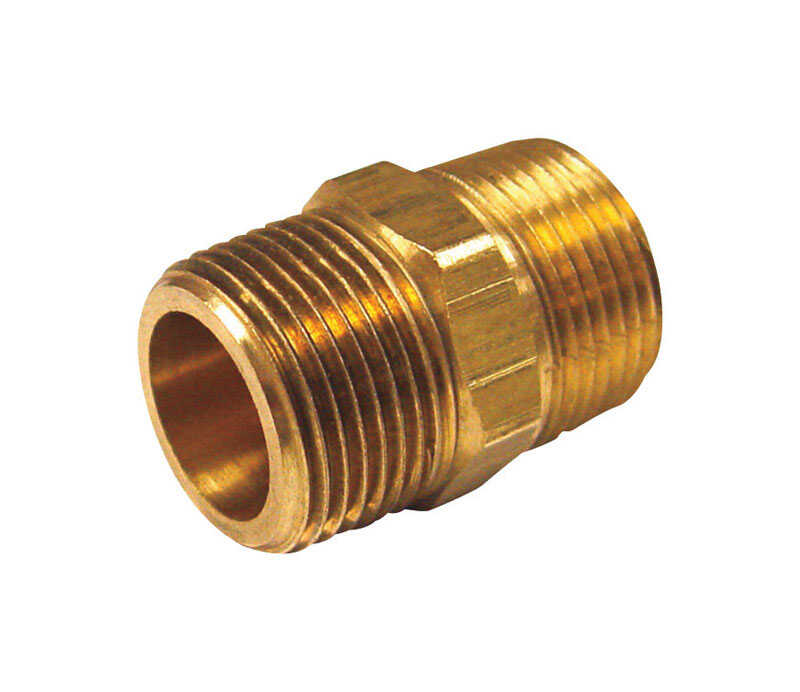 JMF  3/8 in. Dia. x 1/4 in. Dia. MPT To MPT  Brass  Hex Reducing Pipe Nipple