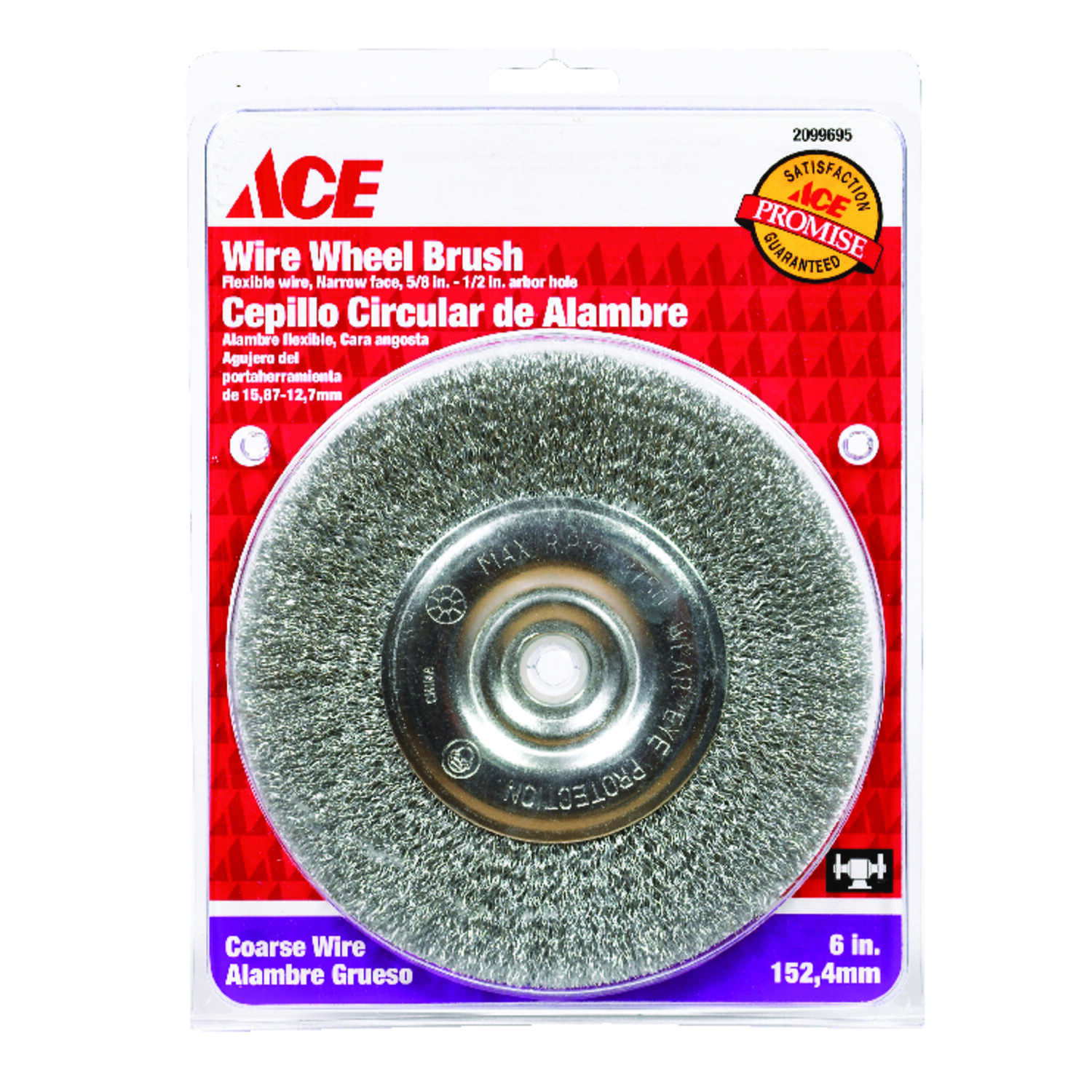 Ace  6 in. Crimped  Wire Wheel Brush  Steel  3750 rpm 1 pc.