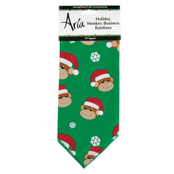 Aria Green Holiday Monkey Business Dog Bandana