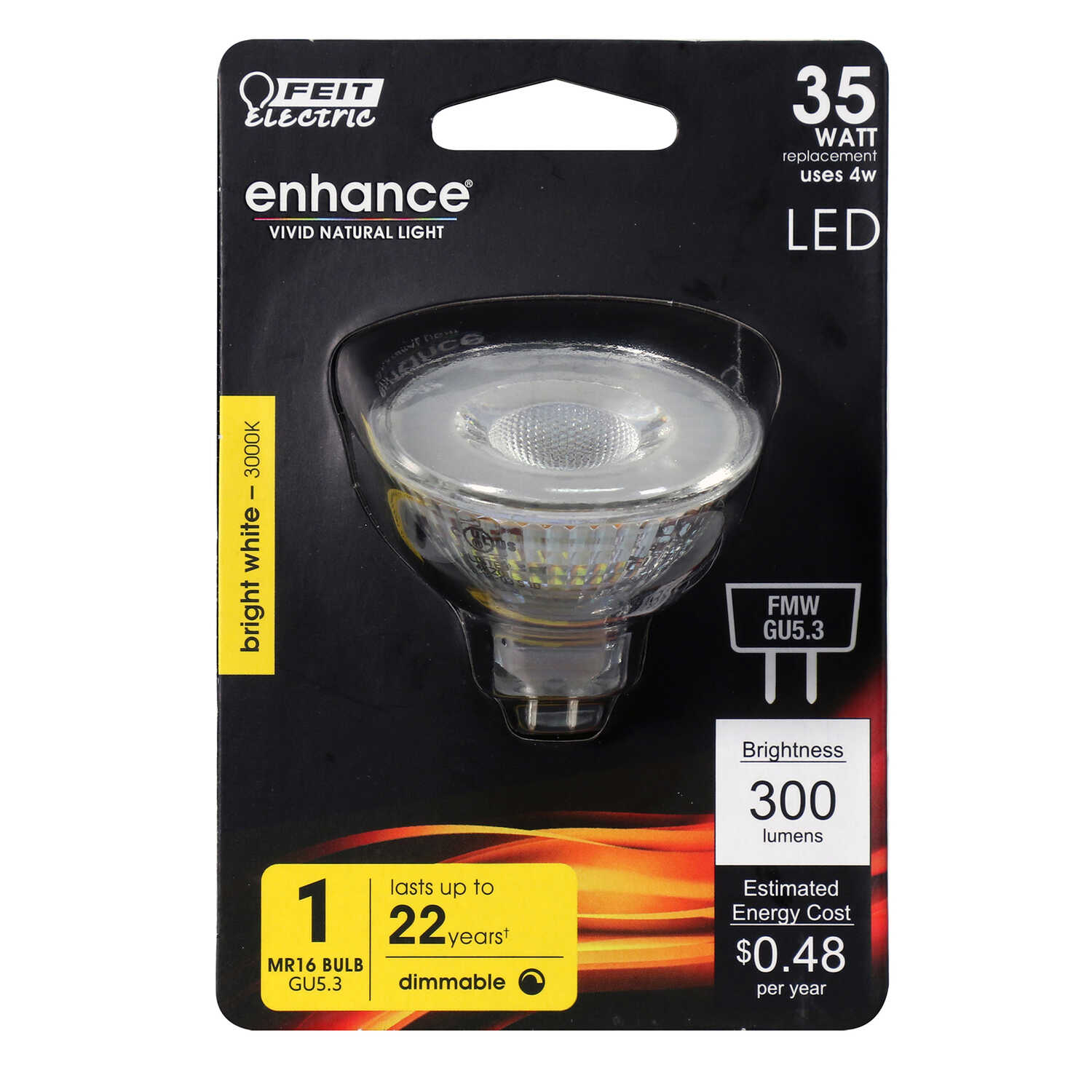 FEIT Electric  Enhance  4 watts MR16  LED Bulb  300 lumens Bright White  Floodlight  35 Watt Equival