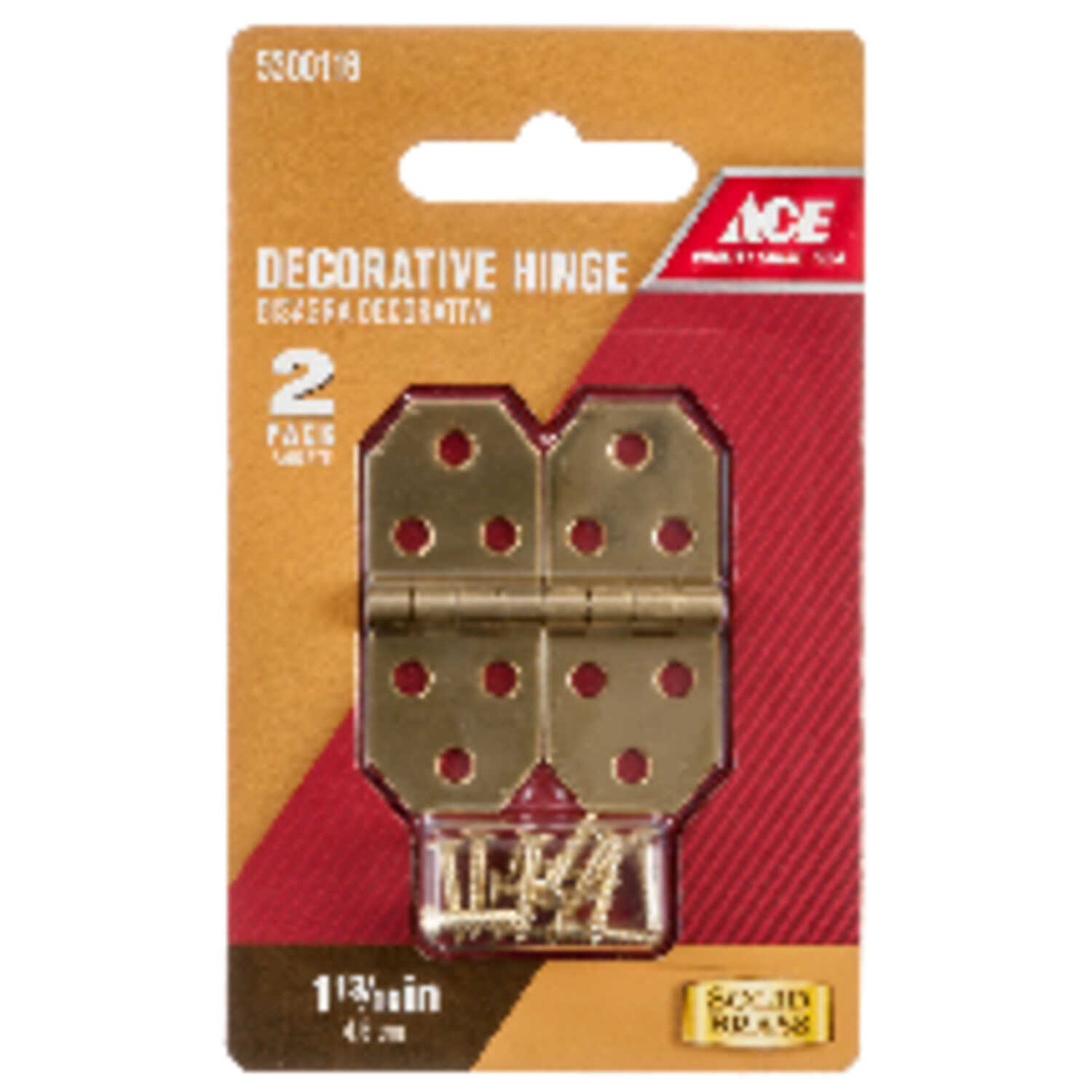 Ace  3/4 in. W x 1-13/16 in. L Polished Brass  Brass  Decorative Hinge  2 pk