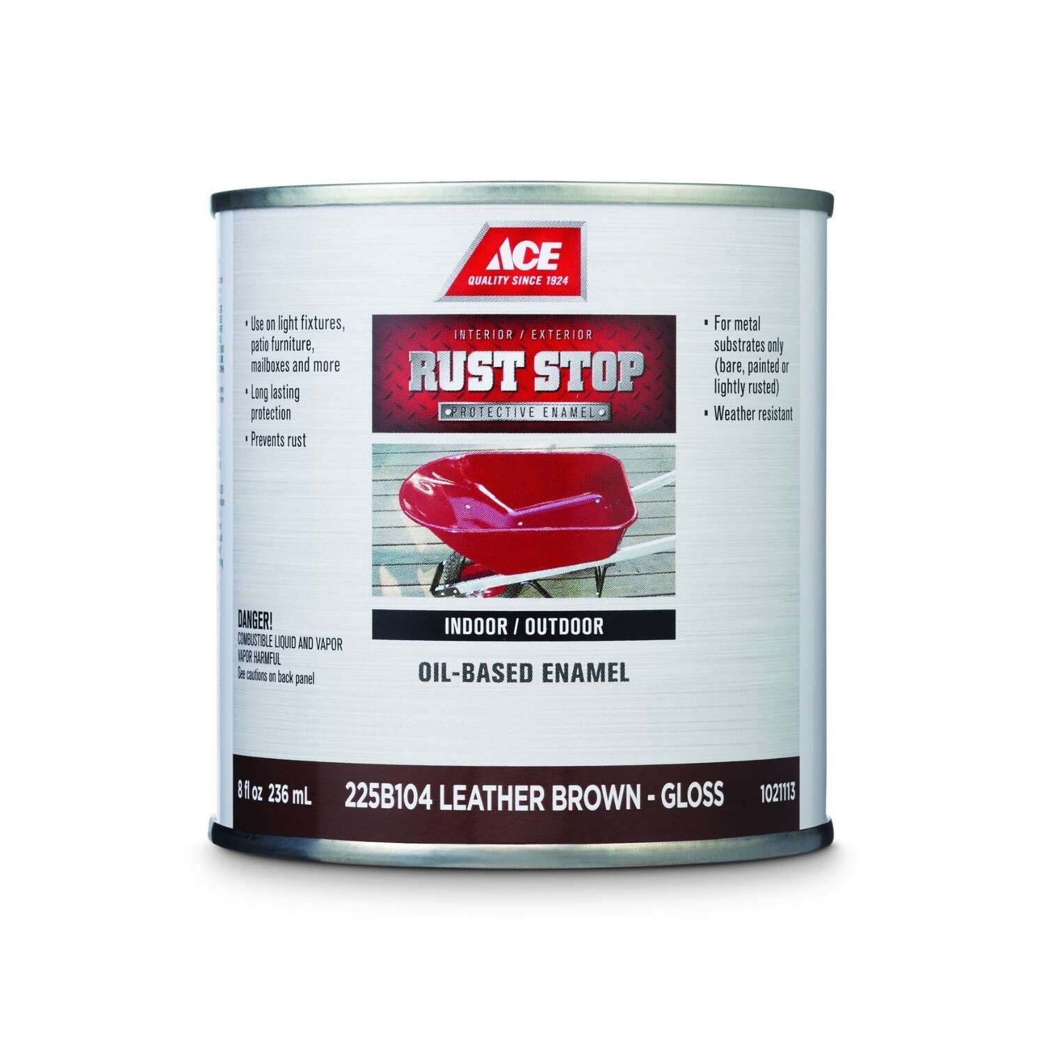 Ace  Rust Stop  Indoor / Outdoor  Leather Brown  Oil-Based Enamel  Rust Preventative Paint  1/2 pt.