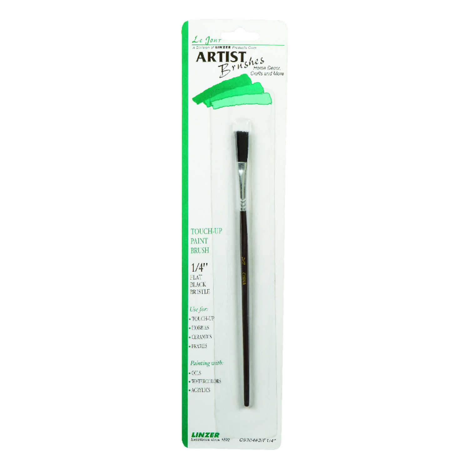 Linzer  1/4 in. W Flat  Black China Bristle  Touch-Up Paint Brush