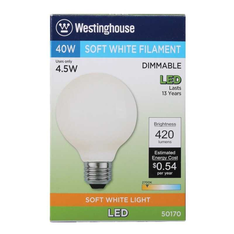 Westinghouse  G25  E26 (Medium)  LED Bulb  Soft White  40 Watt Equivalence 1 pk