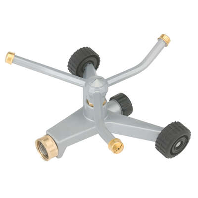 Gilmour  Metal  Wheeled Base  3-Arm Sprinkler  2100 sq. ft.