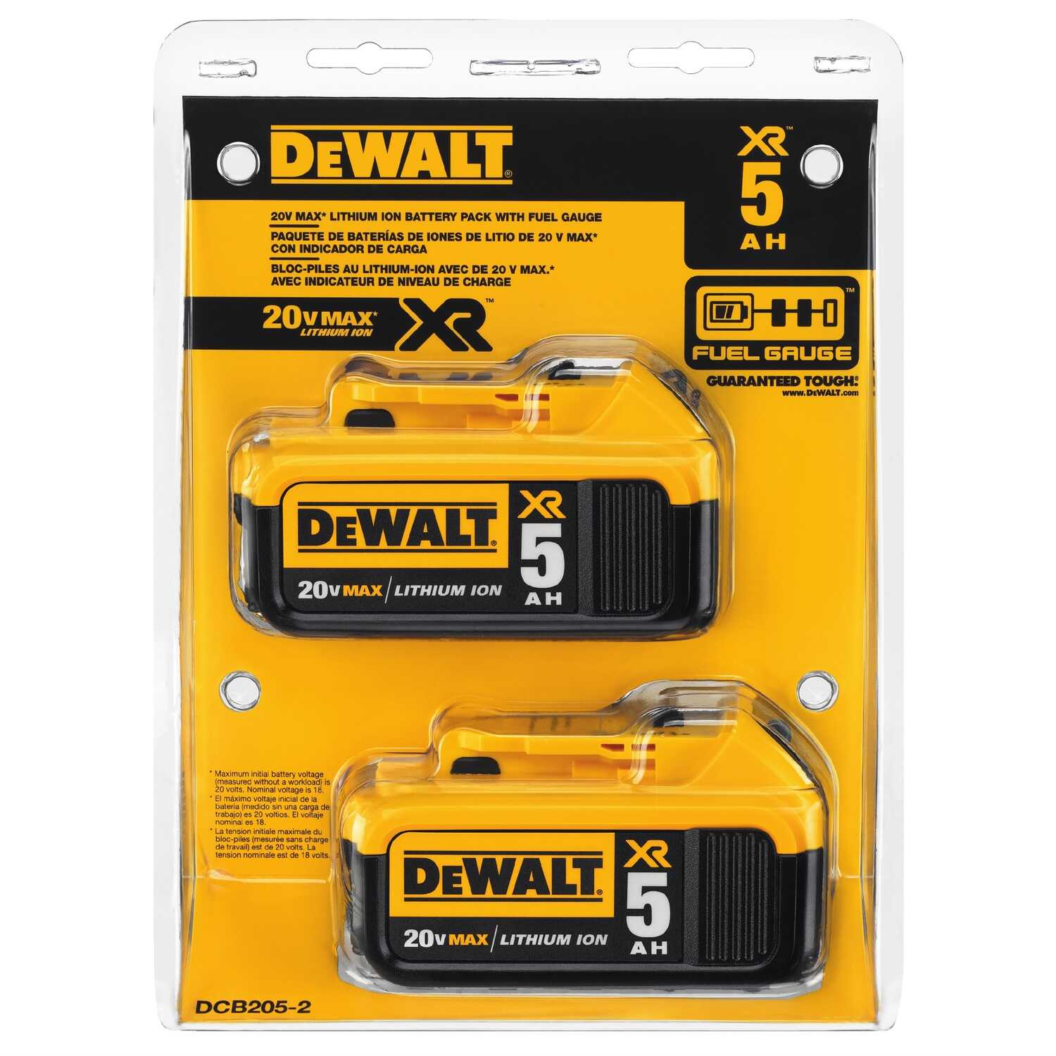 DeWalt  20V MAX XR  20 volt 5 amps Lithium-Ion  Battery Combo Pack  2 pc.