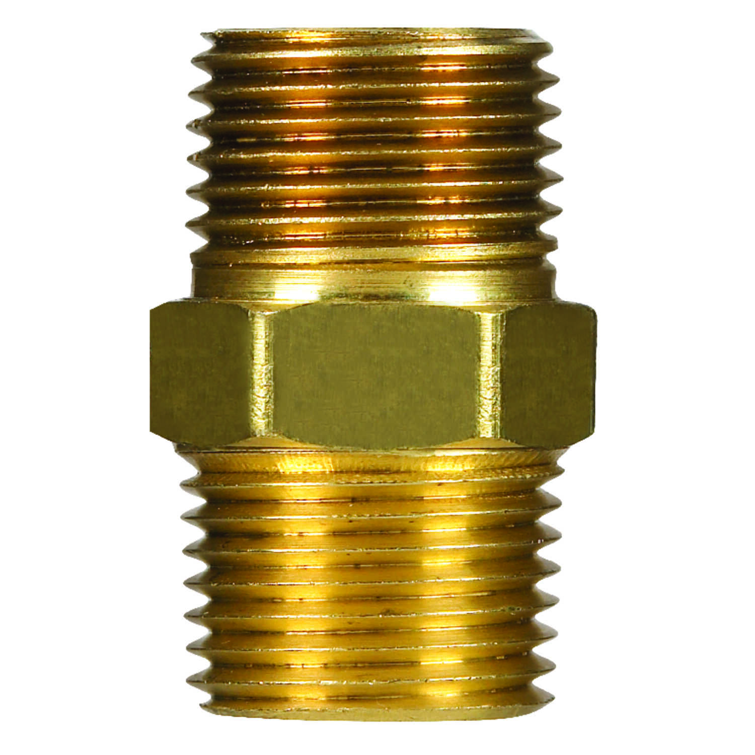 JMF  3/8 in. Dia. x 3/8 in. Dia. MPT To MPT  Yellow Brass  Hex Pipe Nipple