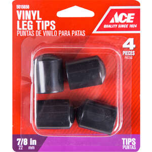 Ace  Vinyl  Leg Tip  Round  Black  7/8 in. W 4 pk