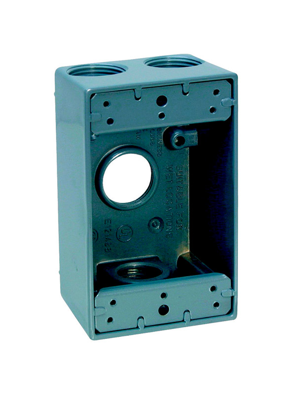 Sigma  4-1/2 in. Rectangle  1 Gang  Aluminum  Outlet Box  Gray