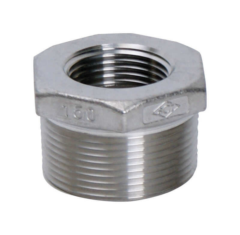 Smith Cooper  1-1/4 in. MPT   x 1 in. Dia. FPT  Stainless Steel  Hex Bushing