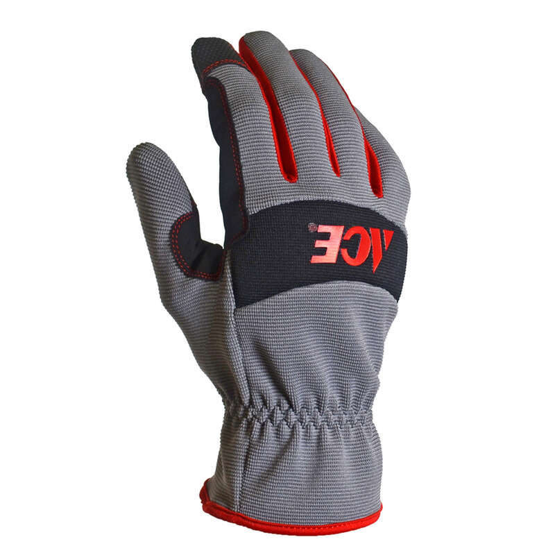 Ace  Men's  Indoor/Outdoor  Synthetic Leather  Utility  Black and Gray  Work Gloves  S