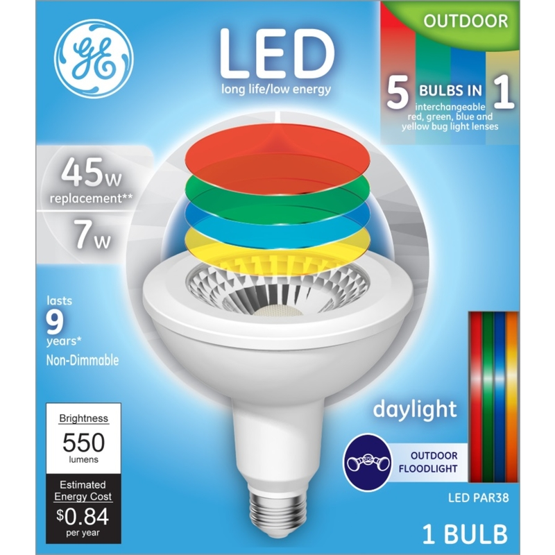 GE Lighting  long life/low energy  7 watts PAR 38  LED Bulb  550 lumens 45 Watt Equivalence Reflecto