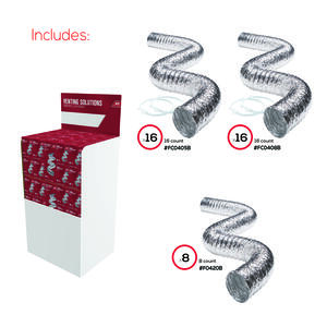 Ace  Display  18.88 in. L x 23.125 in. Dia. Silver/White  Aluminum  Duct