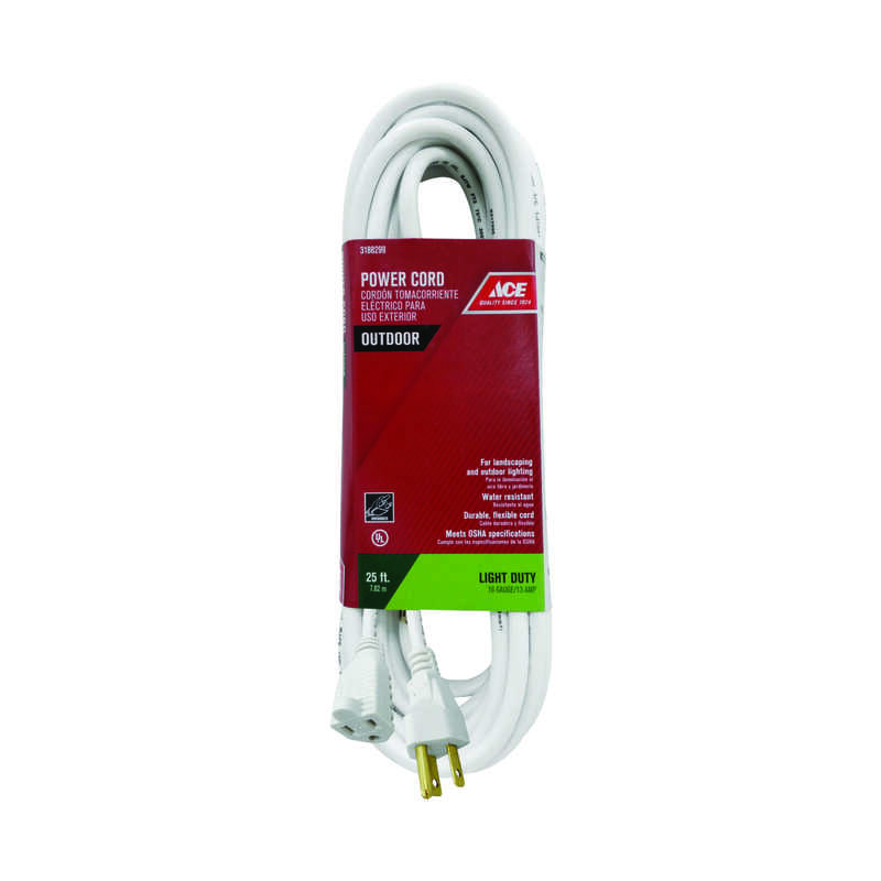 Ace  Indoor and Outdoor  25 ft. L White  Extension Cord  16/3 SJTWA