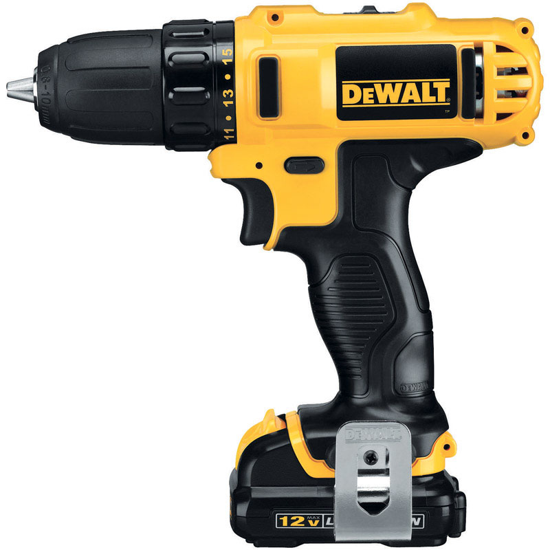 DeWalt  12 volt 3/8 in. Cordless Compact Drill/Driver  Kit 1500 rpm 2 speed
