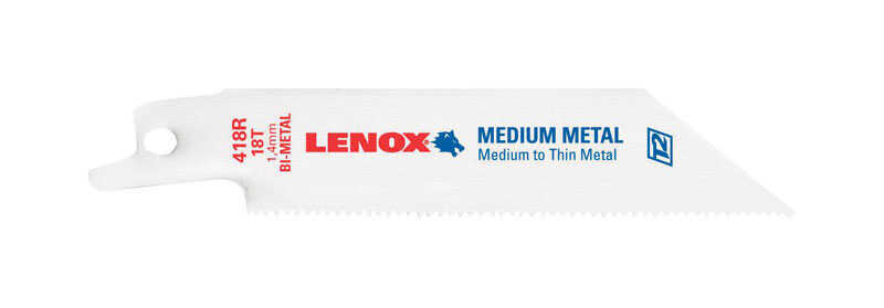 Lenox  4 in. Bi-Metal  Reciprocating Saw Blade  18 TPI 1 pk
