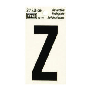 Hy-Ko  2 in. Reflective Black  Vinyl  Letter  Z  Self-Adhesive  1 pc.