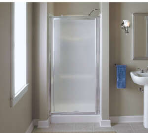 Sterling  27.5 in. W x 66 in. H Framed  Silver  Shower Door
