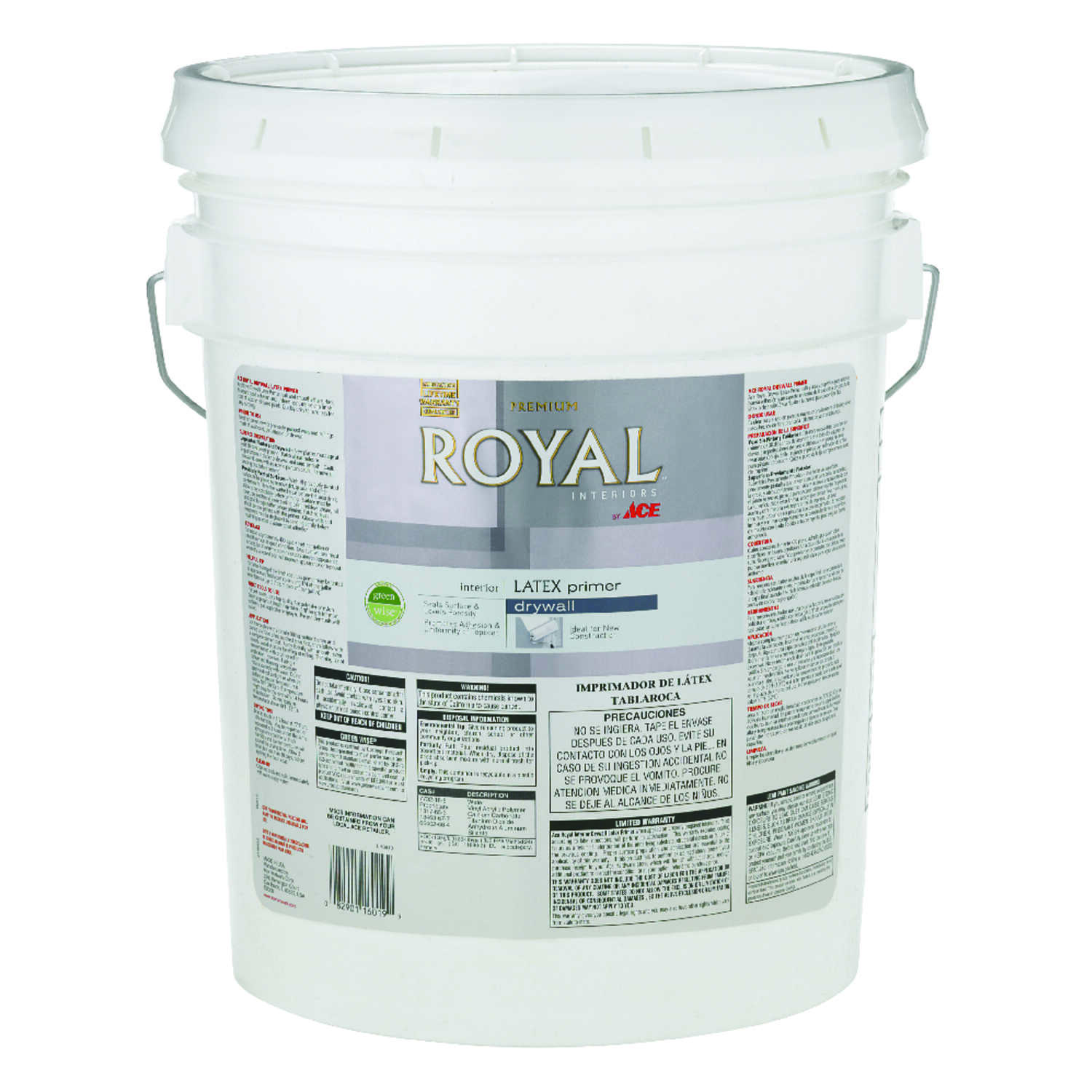 Ace  Royal  Flat  White  Acrylic Latex  PVA Primer  For Drywall 5 gal.