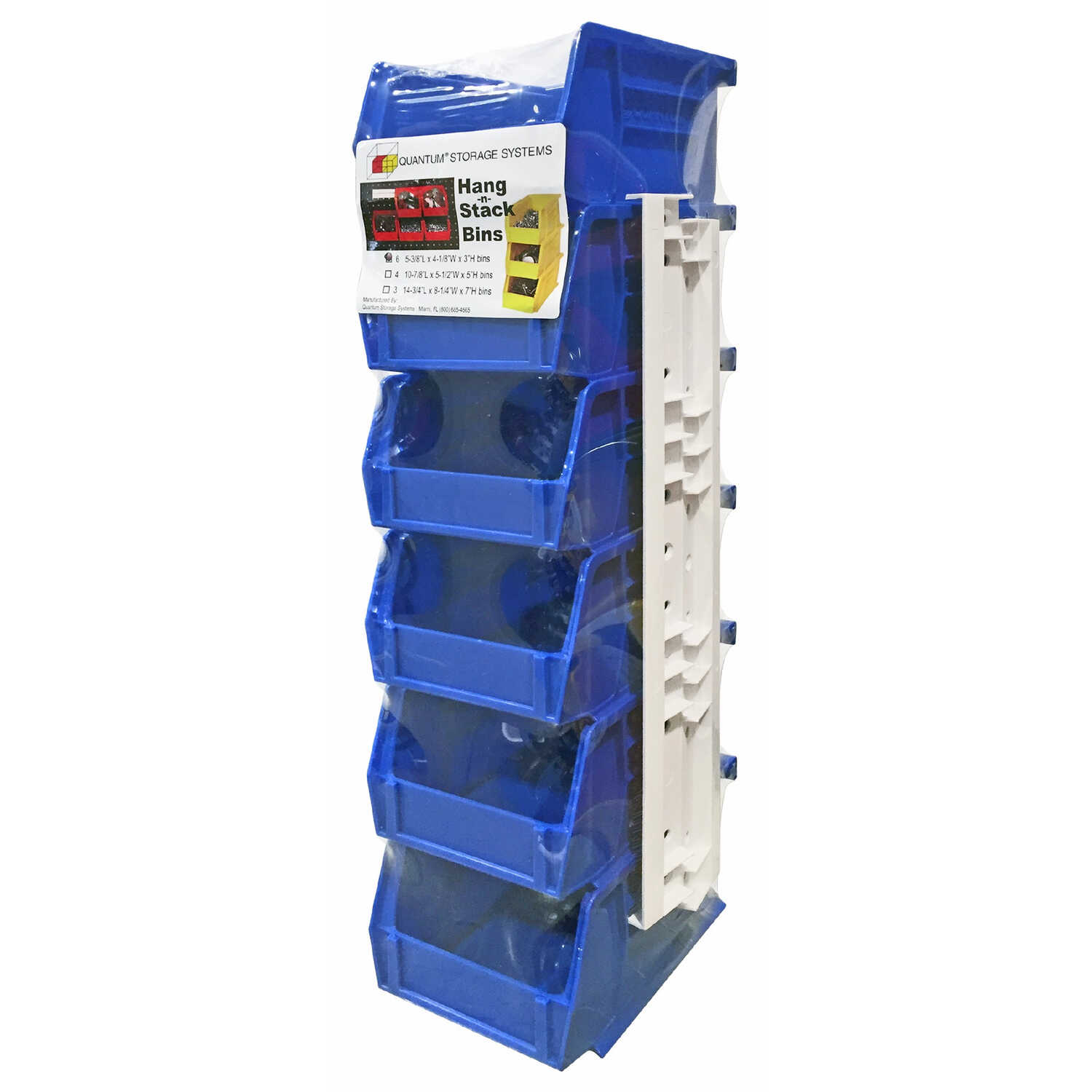 Quantum Storage  3 in. L x 4-1/8 in. W x 5-1/2 in. H Stack and Hang Bin  Polypropylene  6 pk Blue