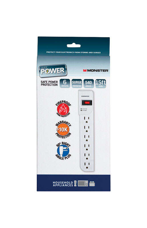 Monster Cable  Just Power It Up  540 J 15 ft. L 6 outlets Surge Protector