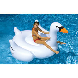 Swimline  White  Vinyl  Inflatable Swan  Pool Float