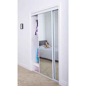 Erias  80 in. H x 7/8 in. W x 72 in. L Steel  Mirrored Sliding Door